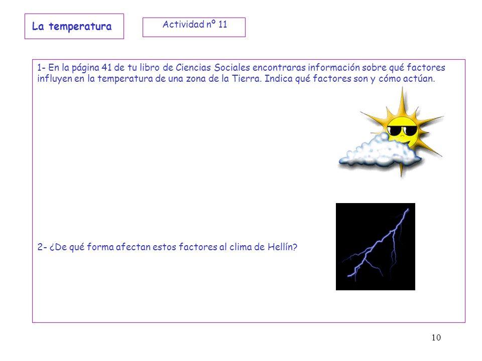 La temperatura Actividad nº 11