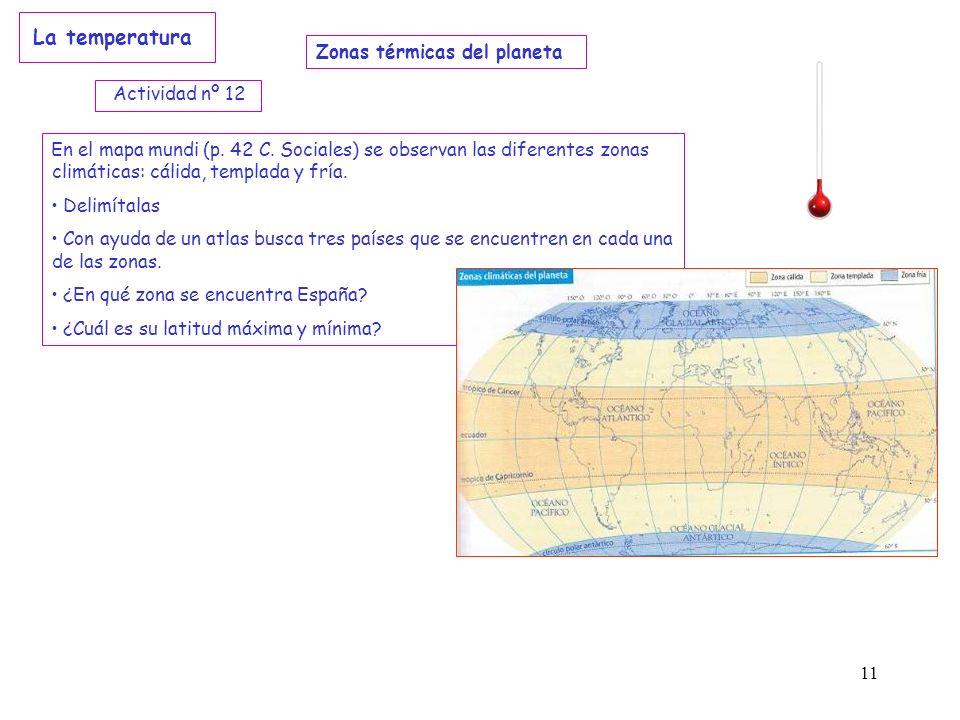La temperatura Zonas térmicas del planeta Actividad nº 12