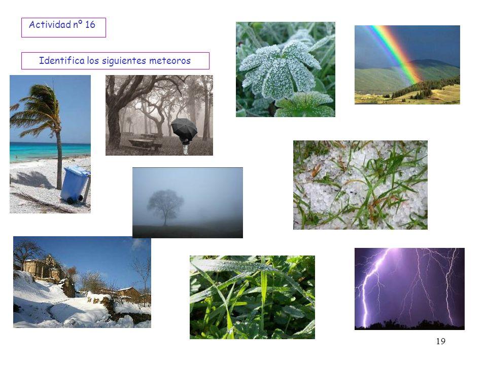 Identifica los siguientes meteoros