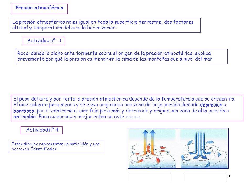 Presión atmosférica La presión atmosférica no es igual en toda la superficie terrestre, dos factores altitud y temperatura del aire la hacen variar.