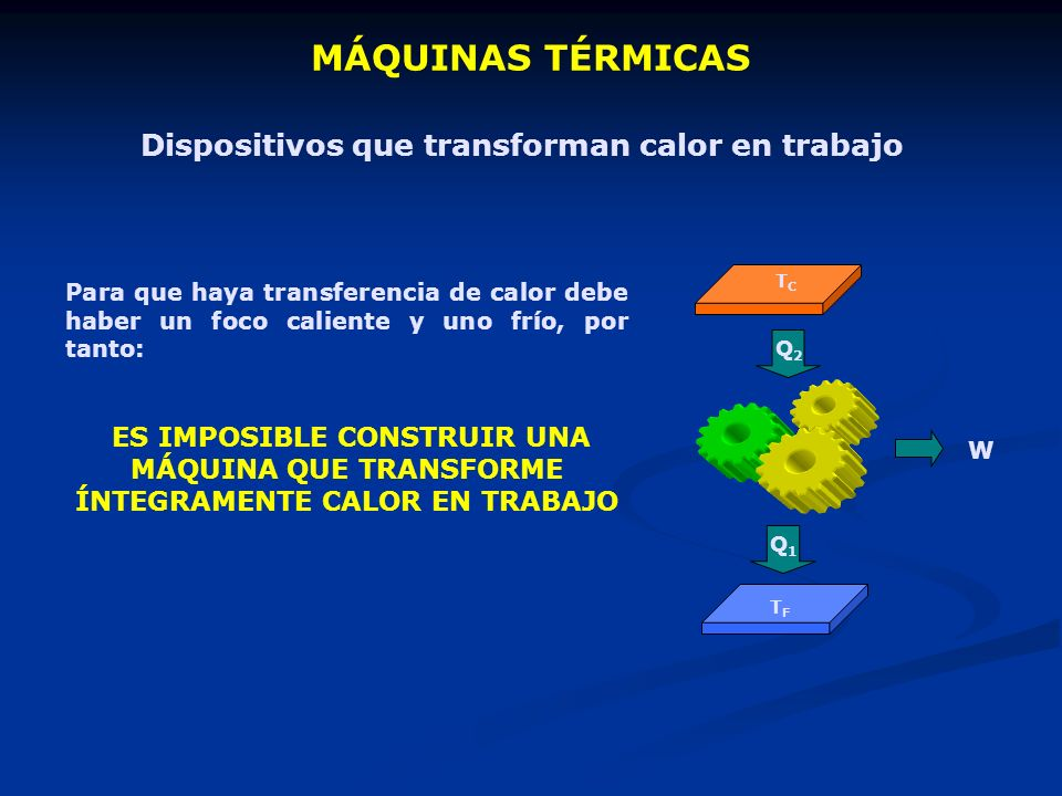 MÁQUINAS TÉRMICAS Dispositivos que transforman calor en trabajo