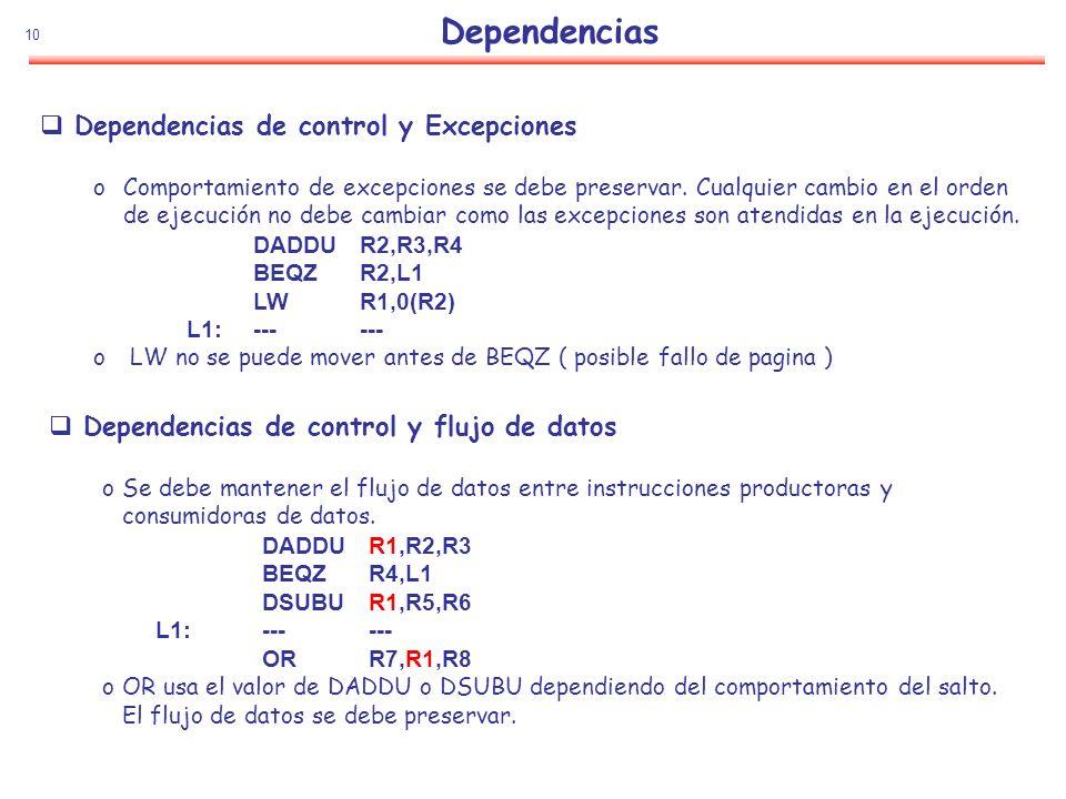 Dependencias Dependencias de control y Excepciones