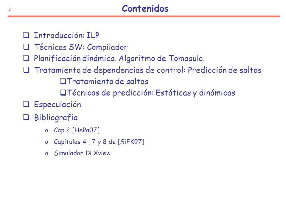Contenidos Introducción: ILP Técnicas SW: Compilador