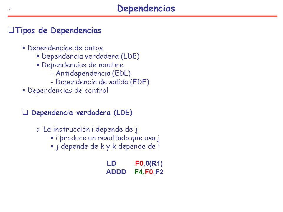 Dependencias Tipos de Dependencias Dependencias de datos
