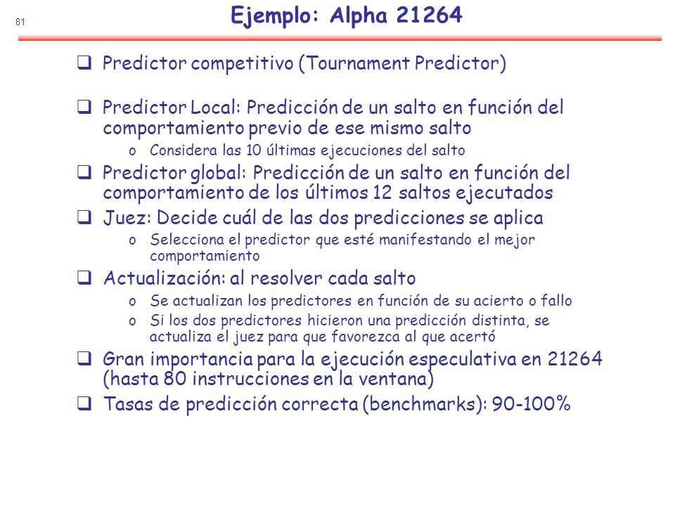 Ejemplo: Alpha 21264 Predictor competitivo (Tournament Predictor)