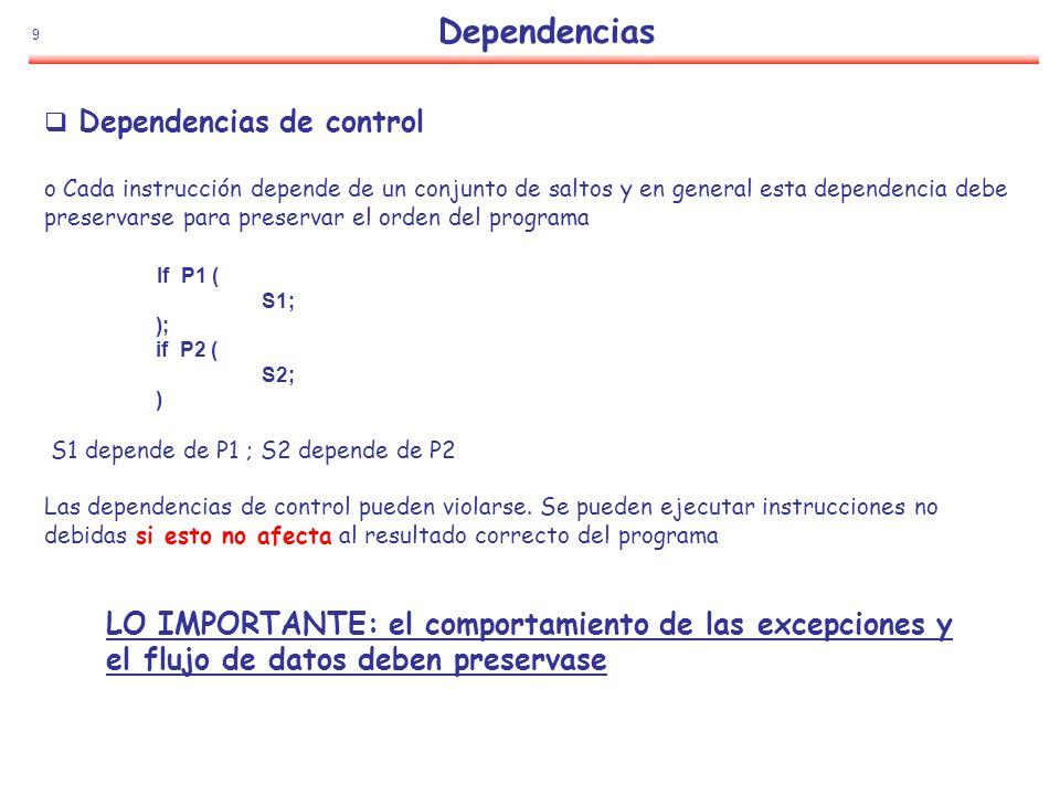 Dependencias Dependencias de control. Cada instrucción depende de un conjunto de saltos y en general esta dependencia debe.