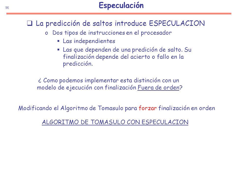 Especulación La predicción de saltos introduce ESPECULACION