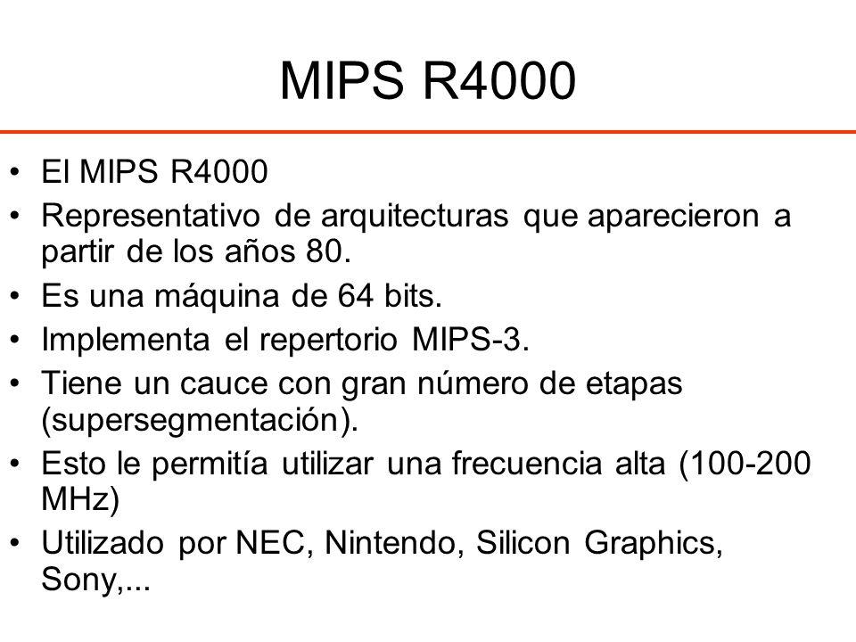 MIPS R4000 El MIPS R4000. Representativo de arquitecturas que aparecieron a partir de los años 80.