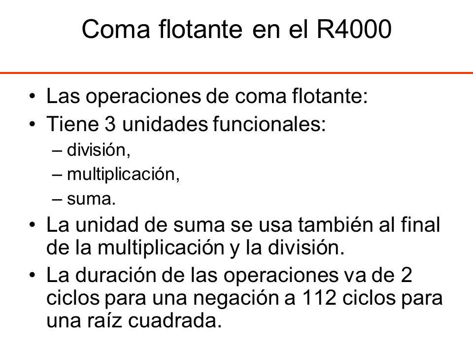 Coma flotante en el R4000 Las operaciones de coma flotante: