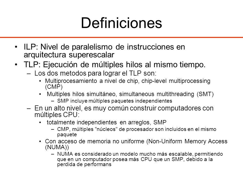 Definiciones ILP: Nivel de paralelismo de instrucciones en arquitectura superescalar. TLP: Ejecución de múltiples hilos al mismo tiempo.