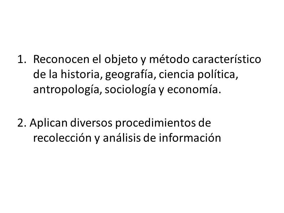 Reconocen el objeto y método característico de la historia, geografía, ciencia política, antropología, sociología y economía.