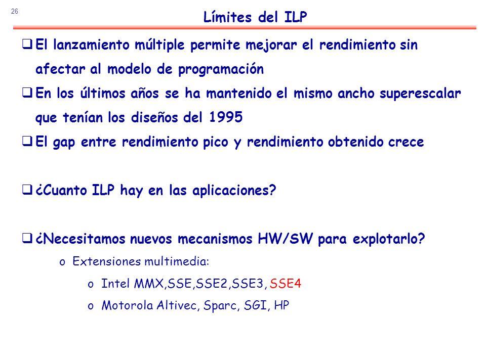Límites del ILP El lanzamiento múltiple permite mejorar el rendimiento sin. afectar al modelo de programación.