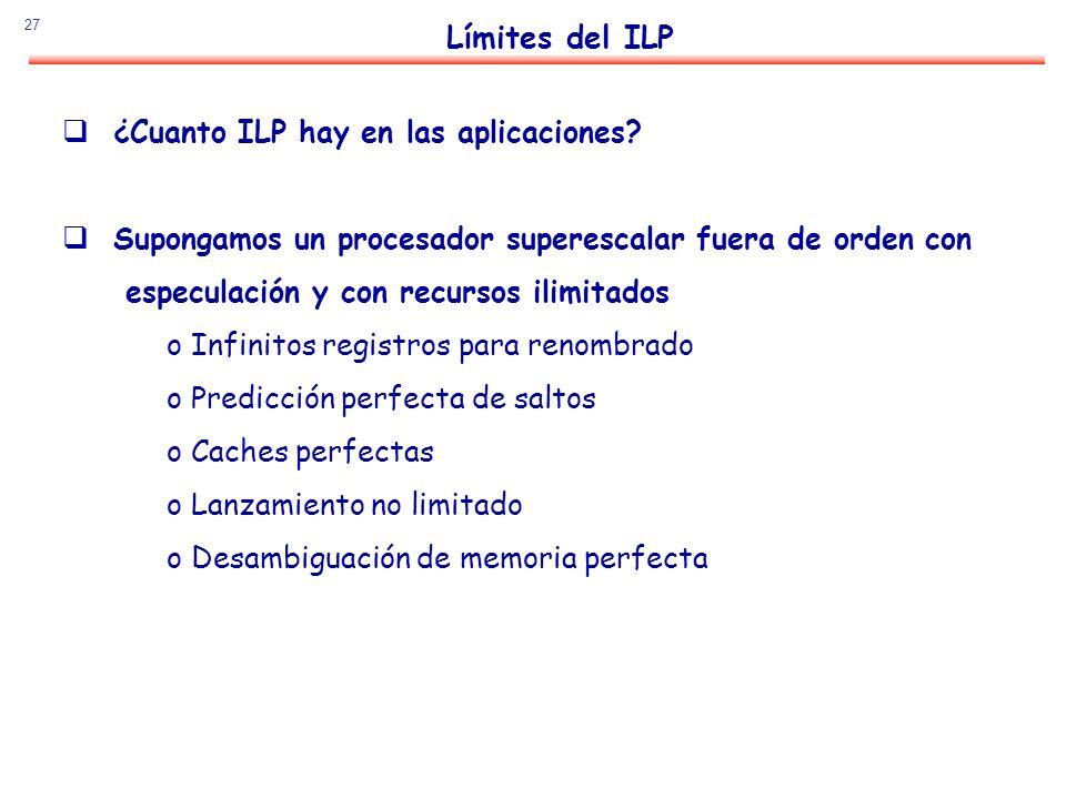 Límites del ILP ¿Cuanto ILP hay en las aplicaciones
