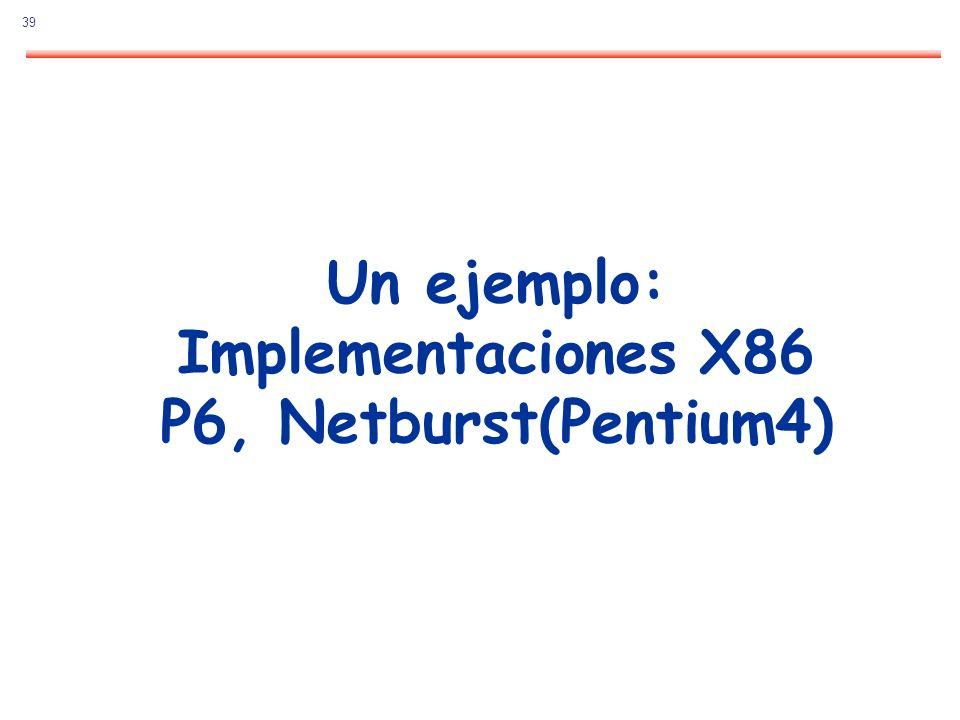 Un ejemplo: Implementaciones X86 P6, Netburst(Pentium4)