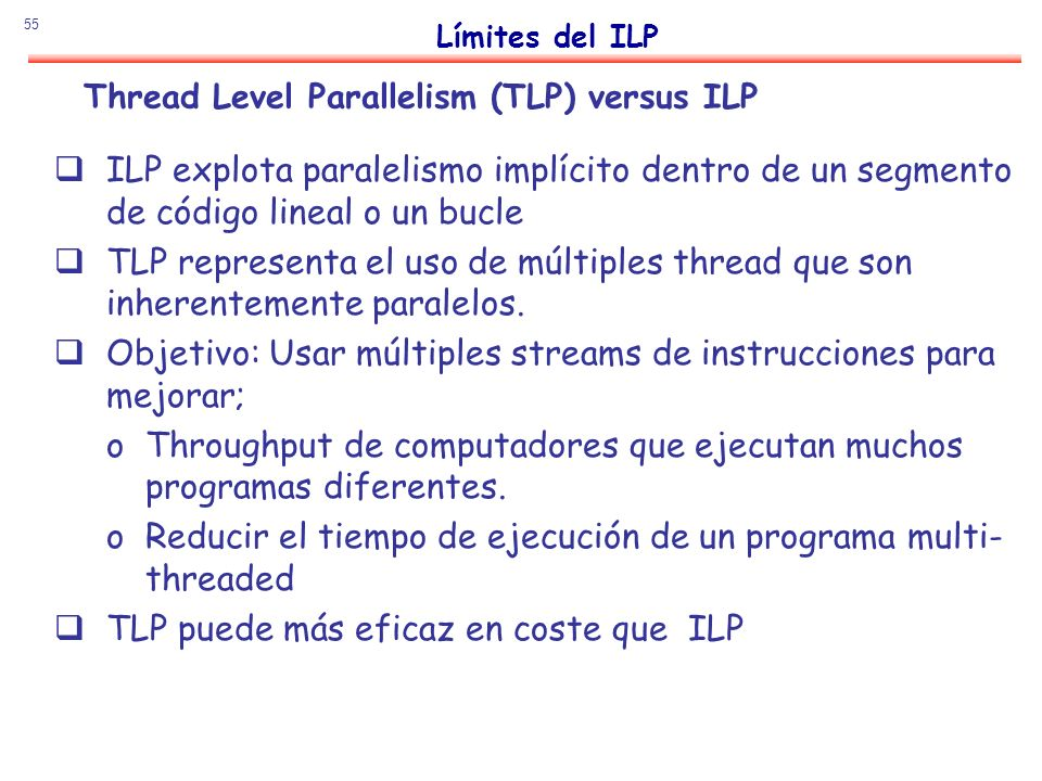 Thread Level Parallelism (TLP) versus ILP