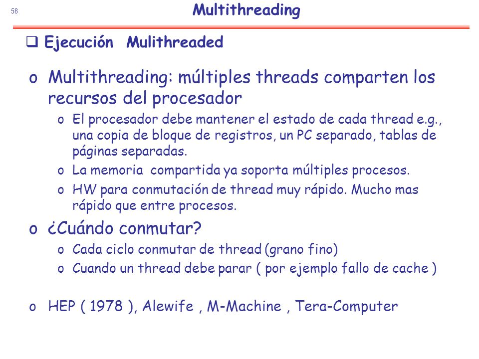 Ejecución Mulithreaded