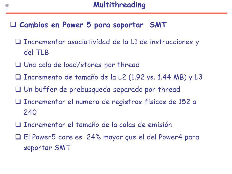 Cambios en Power 5 para soportar SMT