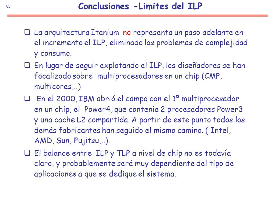 Conclusiones -Limites del ILP
