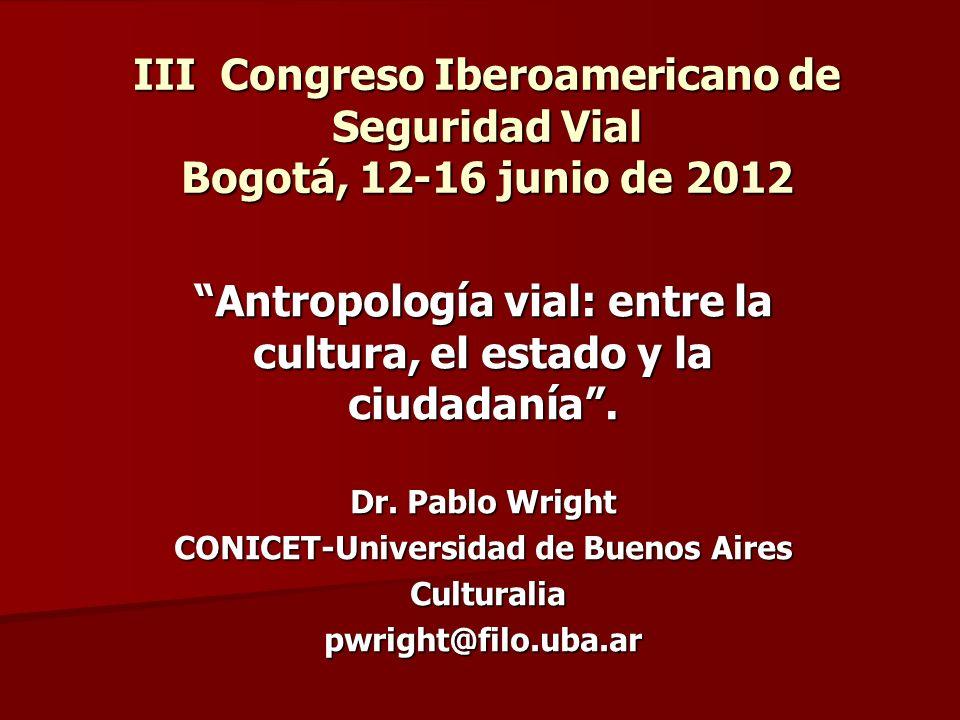 Antropología vial: entre la cultura, el estado y la ciudadanía .