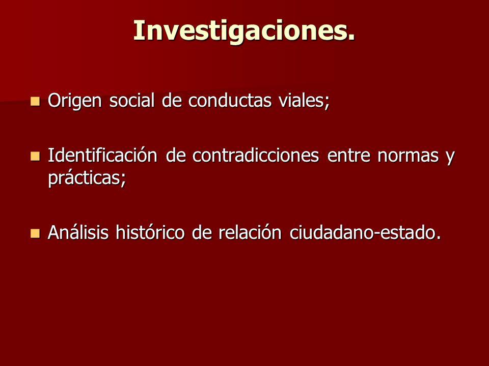 Investigaciones. Origen social de conductas viales;