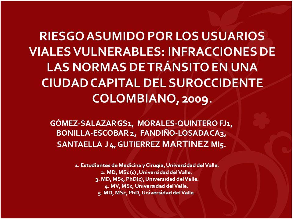 RIESGO ASUMIDO POR LOS USUARIOS VIALES VULNERABLES: INFRACCIONES DE LAS NORMAS DE TRÁNSITO EN UNA CIUDAD CAPITAL DEL SUROCCIDENTE COLOMBIANO, 2009.