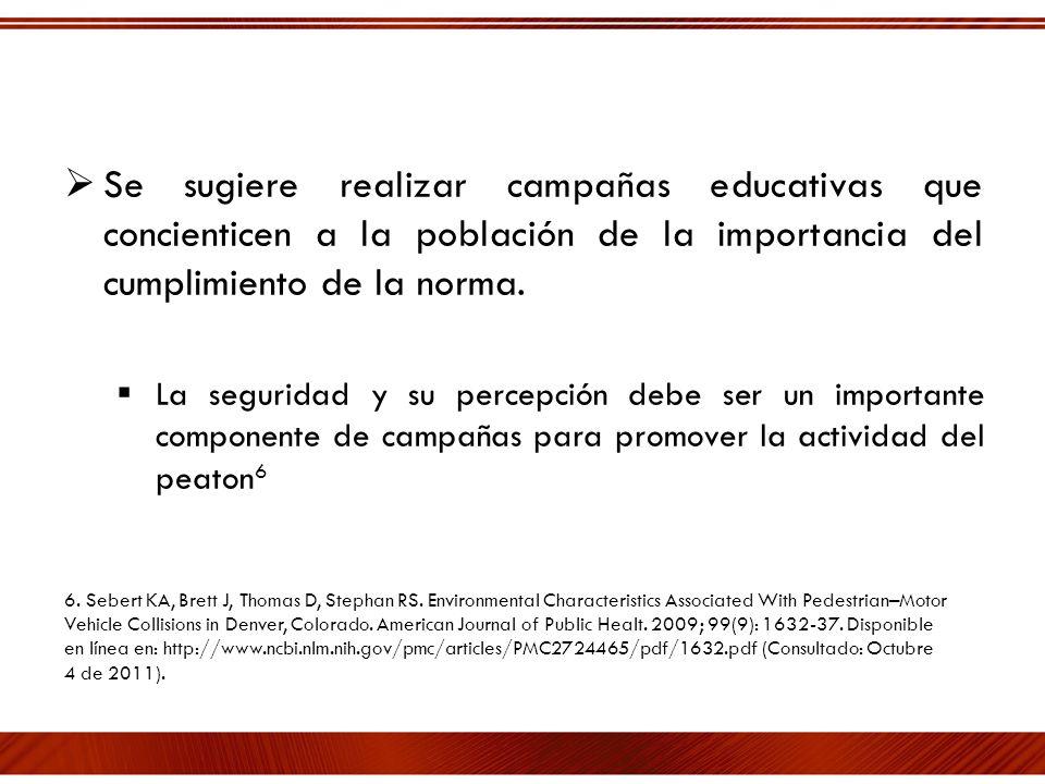 Se sugiere realizar campañas educativas que concienticen a la población de la importancia del cumplimiento de la norma.