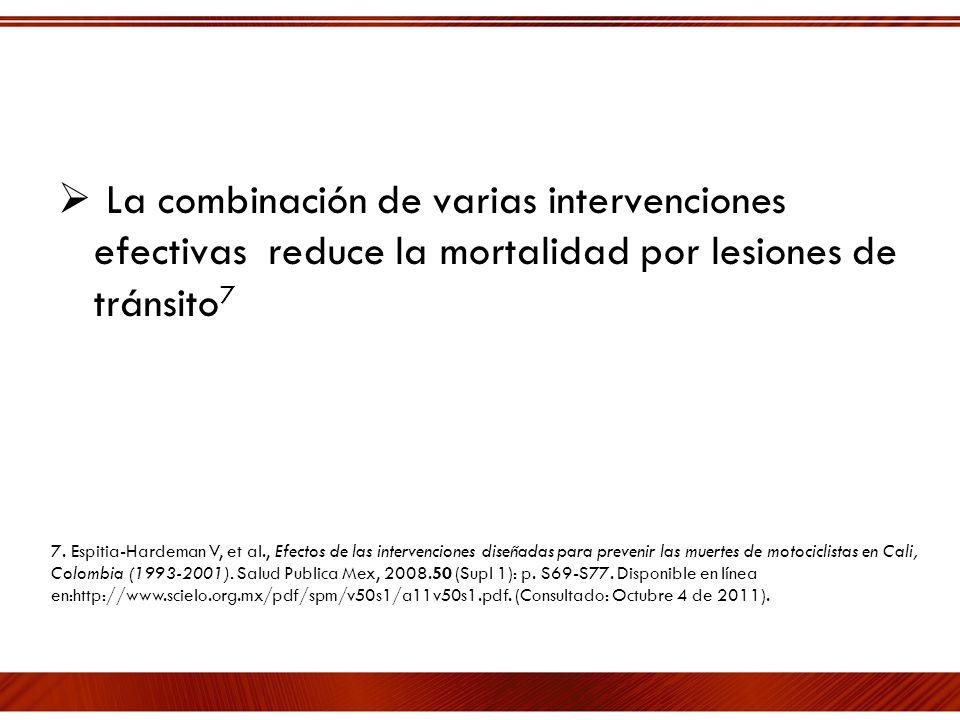 La combinación de varias intervenciones efectivas reduce la mortalidad por lesiones de tránsito7