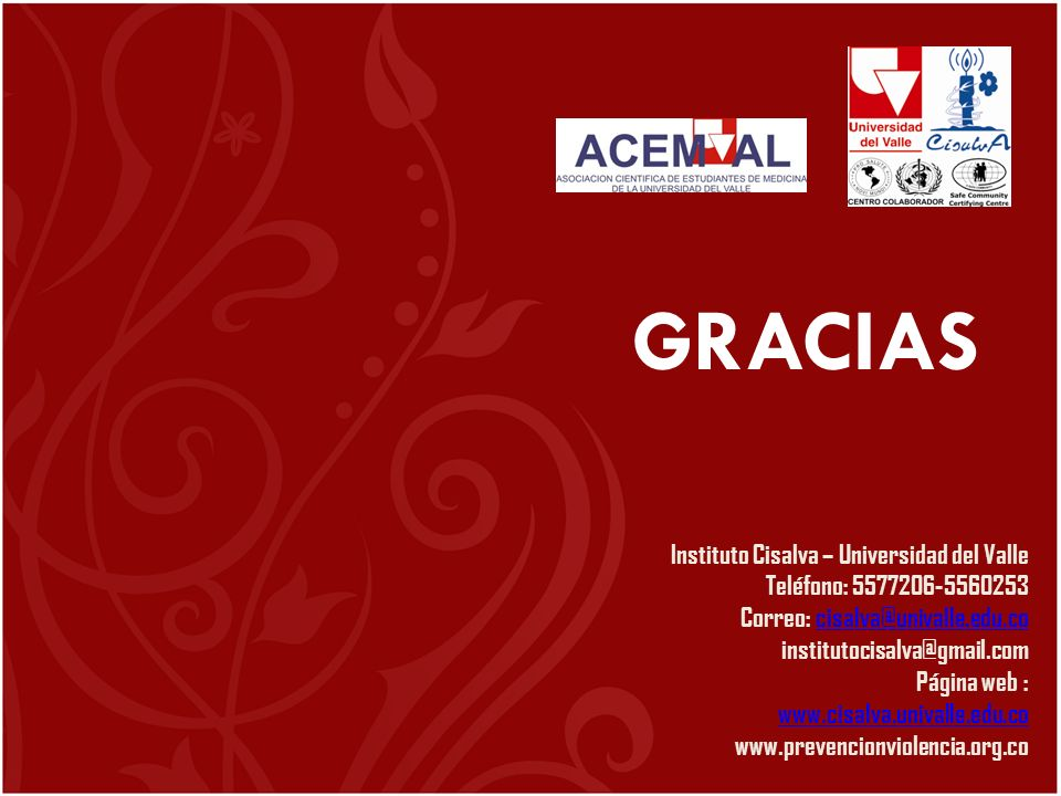 GRACIAS Instituto Cisalva – Universidad del Valle