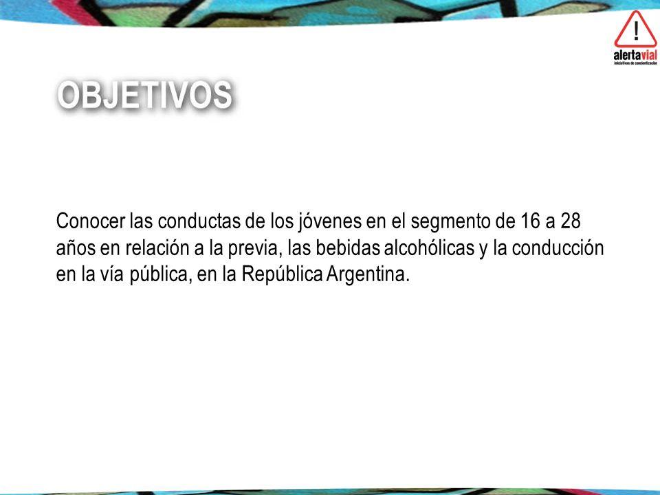 Conocer las conductas de los jóvenes en el segmento de 16 a 28 años en relación a la previa, las bebidas alcohólicas y la conducción en la vía pública, en la República Argentina.
