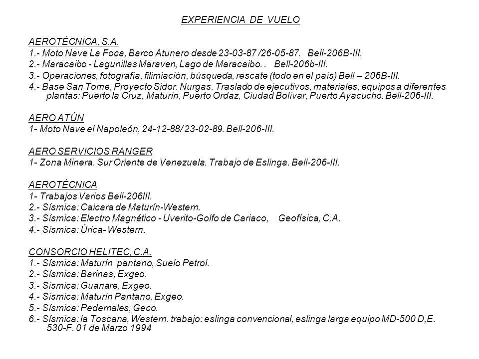 EXPERIENCIA DE VUELO AEROTÉCNICA, S.A. 1.- Moto Nave La Foca, Barco Atunero desde 23-03-87 /26-05-87. Bell-206B-III.