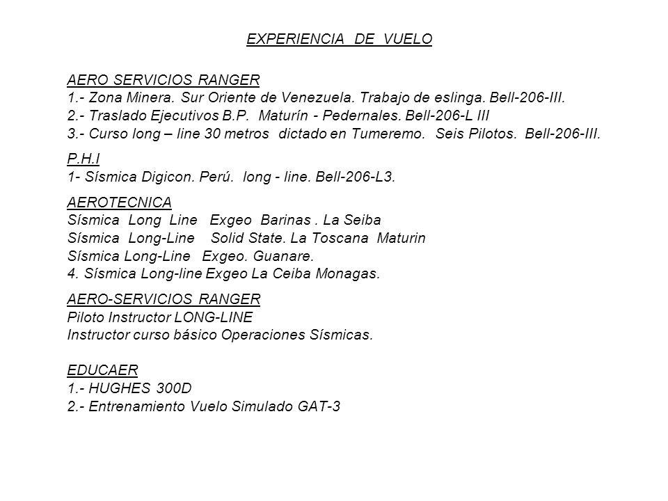 EXPERIENCIA DE VUELOAERO SERVICIOS RANGER. 1.- Zona Minera. Sur Oriente de Venezuela. Trabajo de eslinga. Bell-206-III.