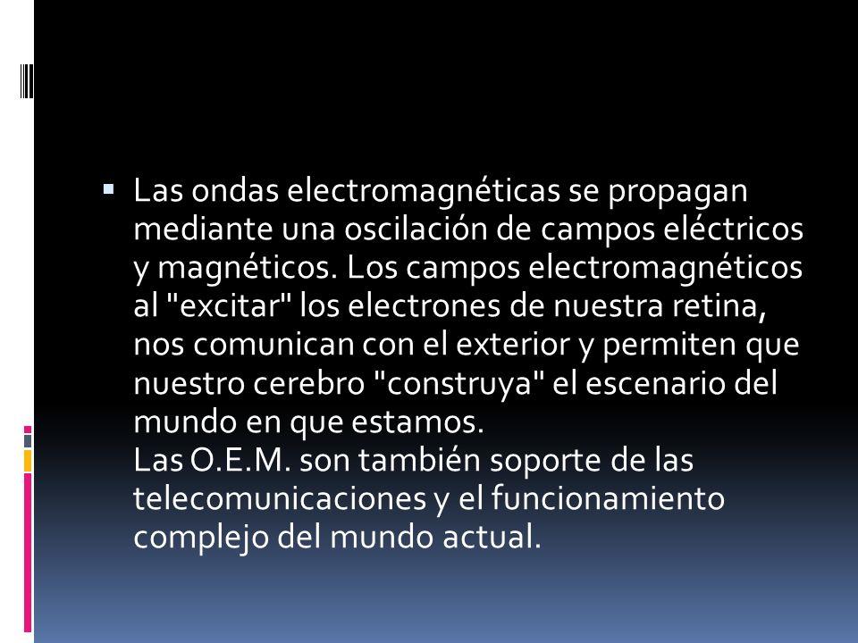 Las ondas electromagnéticas se propagan mediante una oscilación de campos eléctricos y magnéticos.