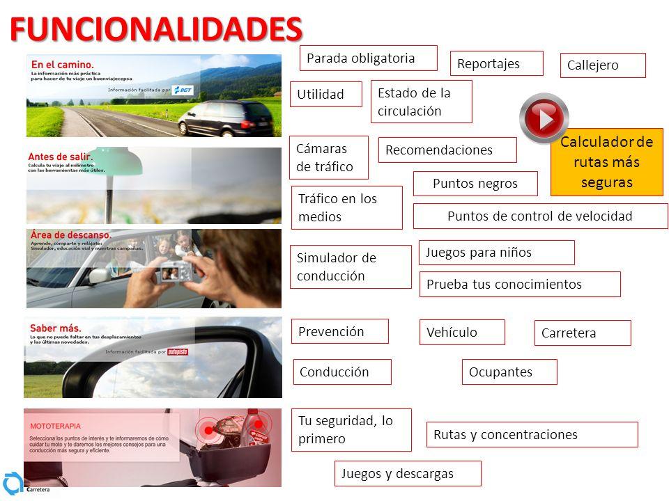 FUNCIONALIDADES Calculador de rutas más seguras Parada obligatoria