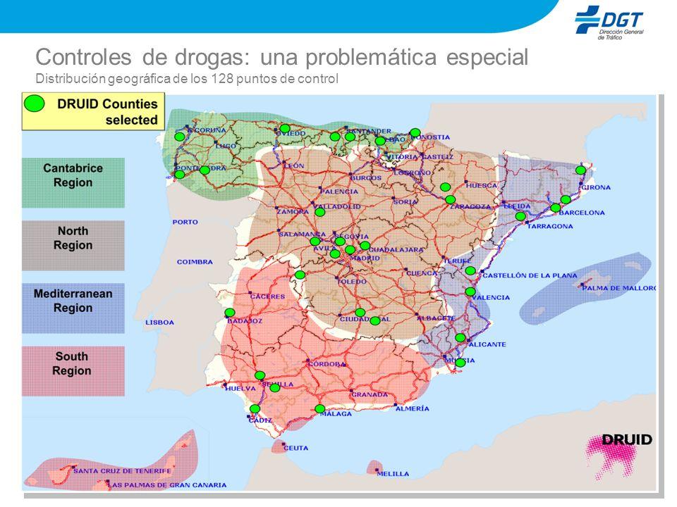 Controles de drogas: una problemática especial Distribución geográfica de los 128 puntos de control