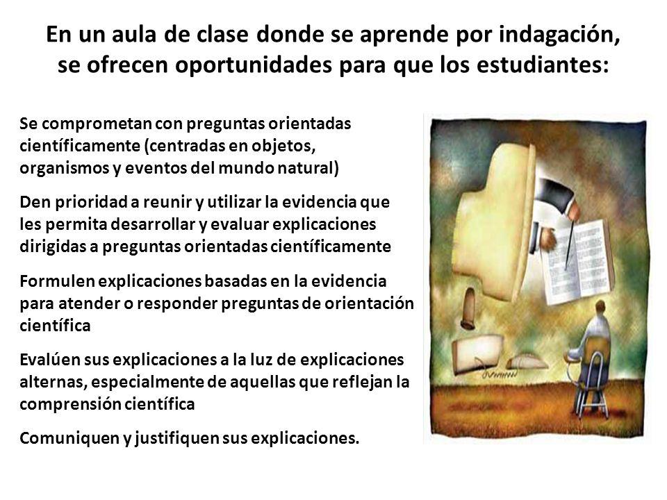 En un aula de clase donde se aprende por indagación, se ofrecen oportunidades para que los estudiantes: