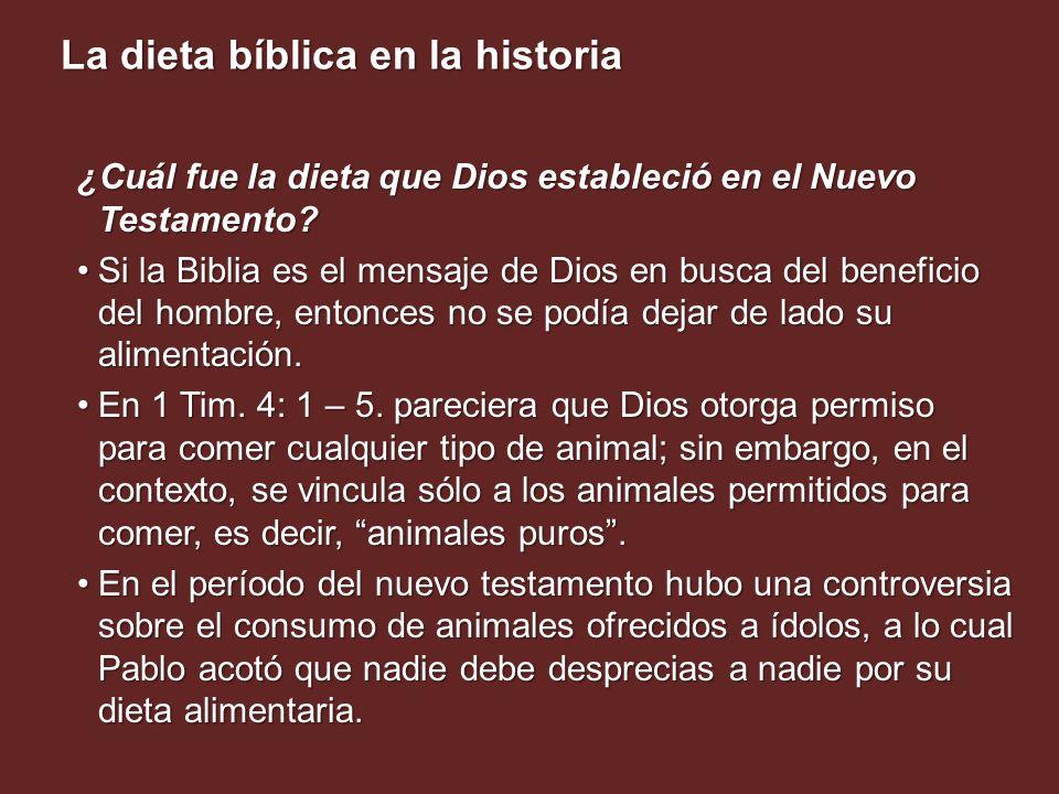 ¿Cuál fue la dieta que Dios estableció en el Nuevo Testamento