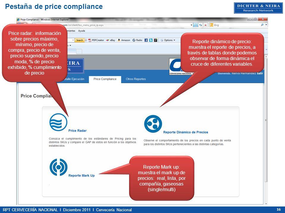 Pestaña de price compliance