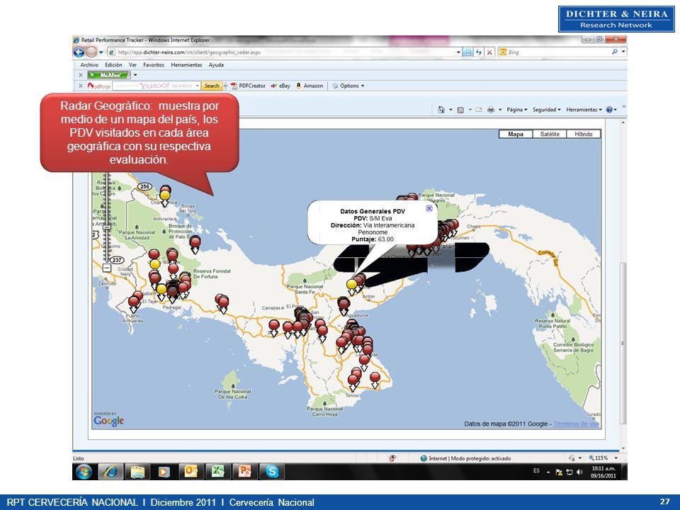 Radar Geográfico: muestra por medio de un mapa del país, los PDV visitados en cada área geográfica con su respectiva evaluación.