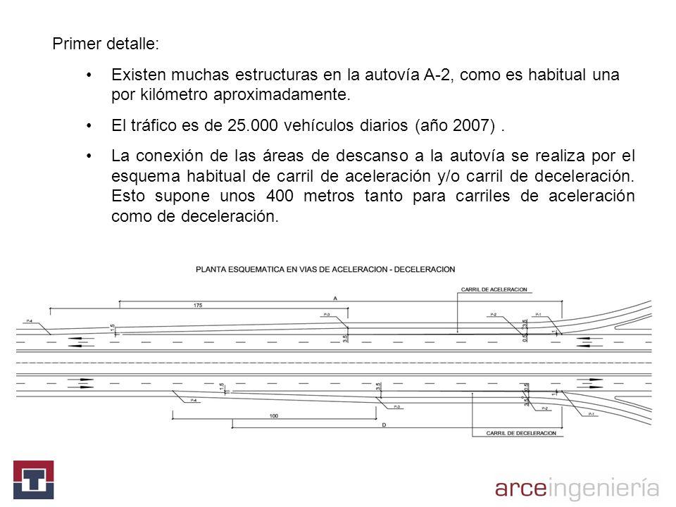 Primer detalle: Existen muchas estructuras en la autovía A-2, como es habitual una por kilómetro aproximadamente.