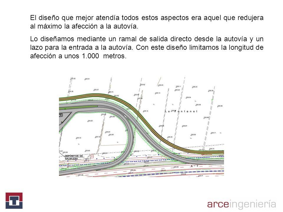 El diseño que mejor atendía todos estos aspectos era aquel que redujera al máximo la afección a la autovía.