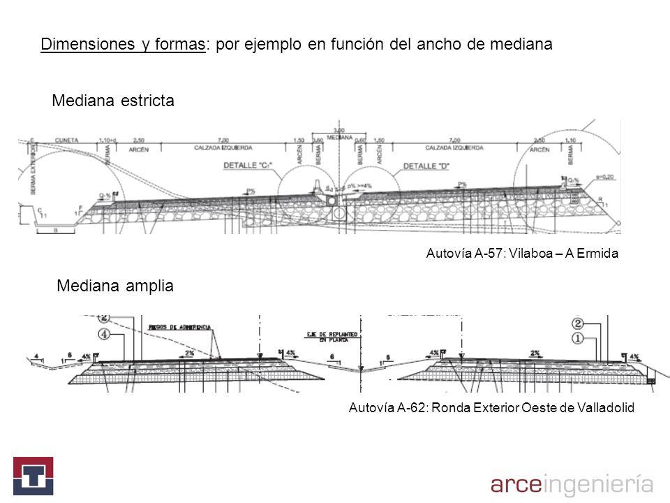 Dimensiones y formas: por ejemplo en función del ancho de mediana