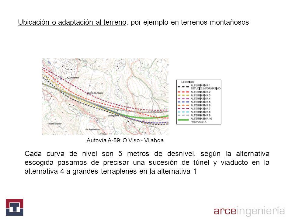 Ubicación o adaptación al terreno: por ejemplo en terrenos montañosos