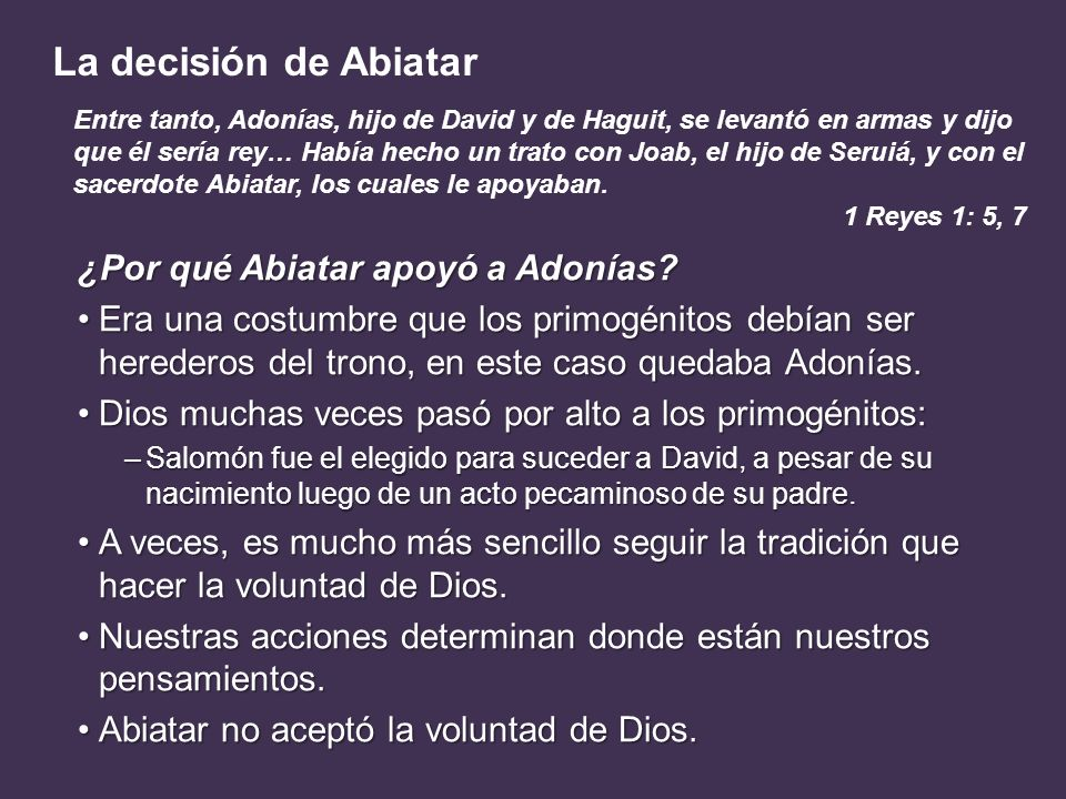 ¿Por qué Abiatar apoyó a Adonías