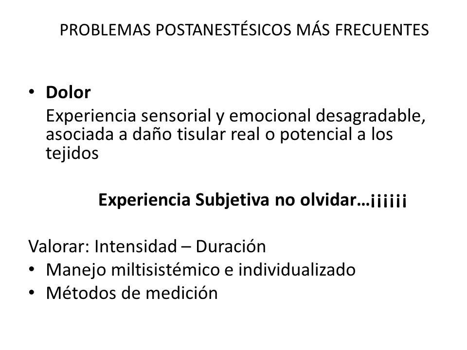 PROBLEMAS POSTANESTÉSICOS MÁS FRECUENTES