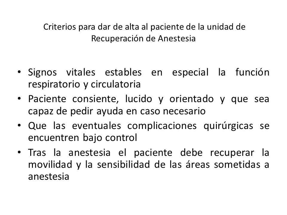 Criterios para dar de alta al paciente de la unidad de Recuperación de Anestesia