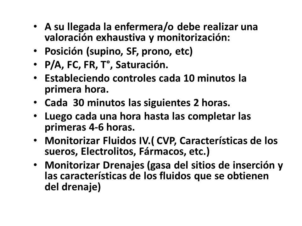 A su llegada la enfermera/o debe realizar una valoración exhaustiva y monitorización: