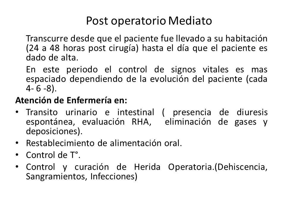 Post operatorio Mediato