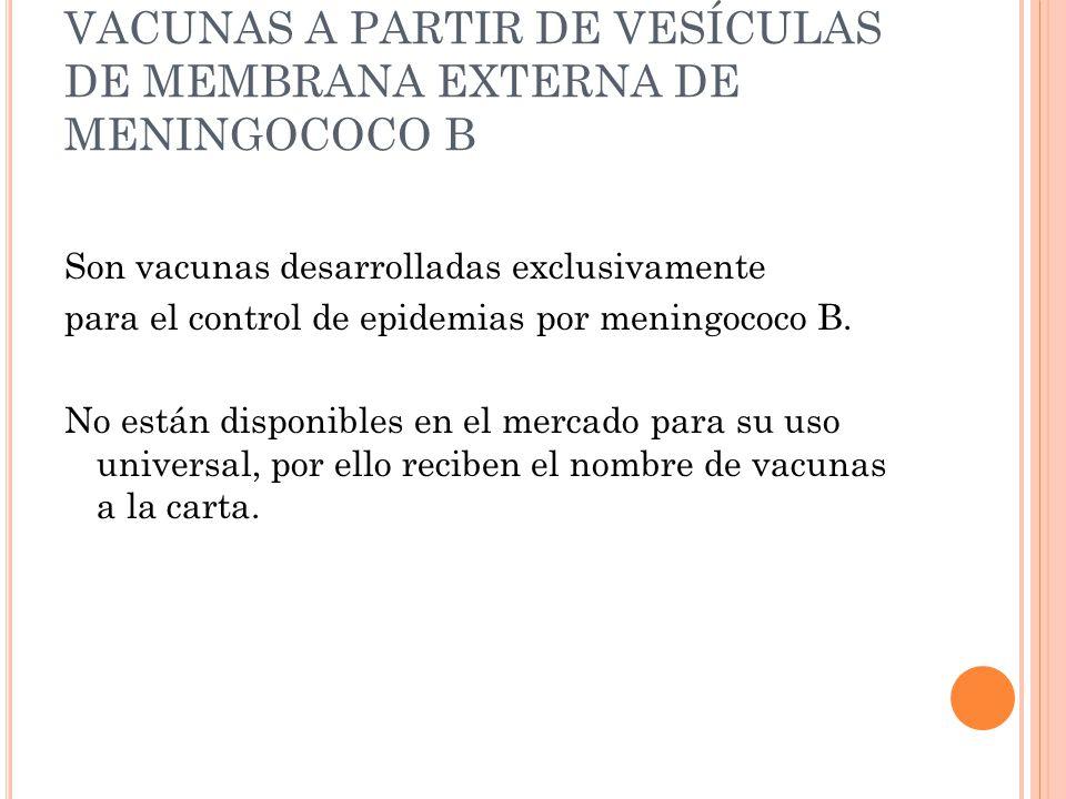 VACUNAS A PARTIR DE VESÍCULAS DE MEMBRANA EXTERNA DE MENINGOCOCO B