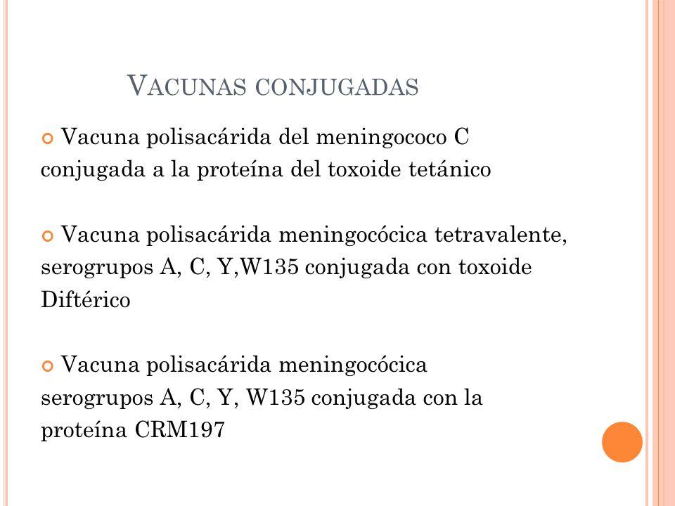 Vacunas conjugadas Vacuna polisacárida del meningococo C