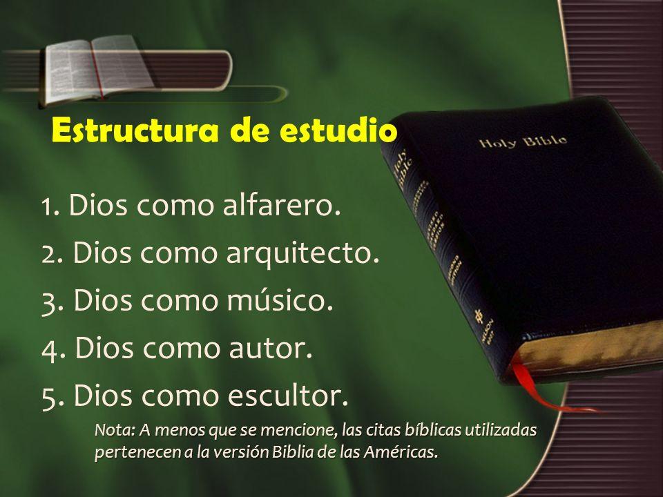 Estructura de estudio 1. Dios como alfarero. 2. Dios como arquitecto.